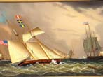 click to view detailed description of An original oil painting of a Topsail Schooner and other shipping in Boston Harbor in the 1840s by Jerome Howes (b. 1955-)