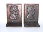 click to view detailed description of A pair of Antique cast iron Bookends circa 1925 having the bust of Abraham Lincoln