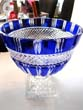 click to view detailed description of A stunning vintage cobalt blue crystal compote bowl
