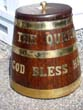 click to view detailed description of A fine Victorian Royal Navy brass bound oak rum barrell inscribed