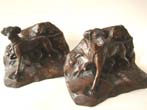 click to view detailed description of A RARE pair of Pointer bronzed bookends by Jennings Brothers circa 1925