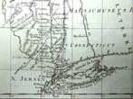 click to view detailed description of A Revolutionary War period map showing all the towns and forts from Long Island to Vermont published in 1782
