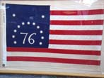 click to view detailed description of A fine vintage American flag sometimes referred to as the Bennington flag or the Spirit of 76 flag