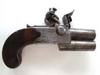 click to view detailed description of An 18th century double barreled flintlock pocket pistol signed