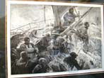 click to view detailed description of A late 19th or early 20th century print depicting women and children being rescued from a sinking ship