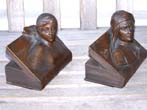 click to view detailed description of A Nice pair of Antique Bronzed Bookends depicting Dante and Beatrice circa 1920