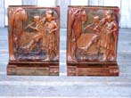 click to view detailed description of A Fine and Rare pair of Antique Bronzed Art Nouveau Bookends by the Pompeian Bronze Co. of New York circa 1915.