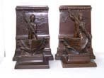 click to view detailed description of A Spectacular Pair of Antique New Bedford Whaling Monument Bookends circa 1930