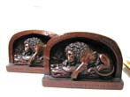 click to view detailed description of A Rare and Outstanding Pair of Antique Bronze Finish Bookends Depicting the Lion of Lucerne circa 1925.