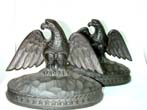 click to view detailed description of A Pair of Antique Cast Iron Eagle Bookends by the Hamilton Foundry circa 1929.