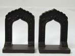 click to view detailed description of A Pair of antique Bradley & Hubbard Bookends in the form of a Hindu archway