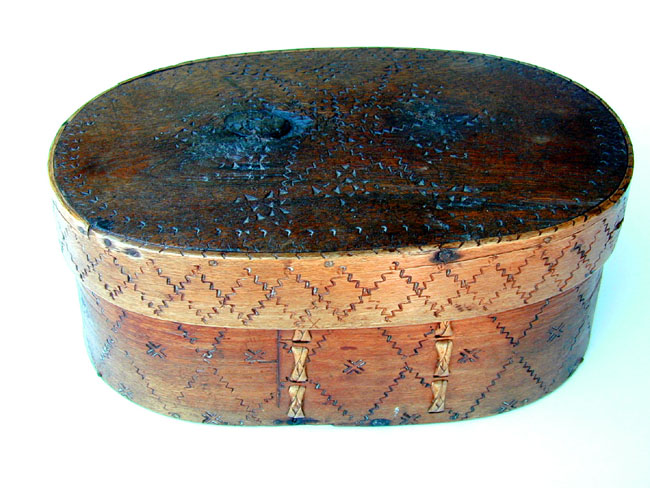 click to view detailed description of A 19th Century Scandinavian Wooden Storage Box Circa 1850