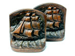 click to view detailed description of Bronze Bookends Depicting The Clipper Ship  President circa 1900.