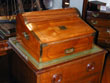 click to view detailed description of China Trade Period Camphorwood Tambour Top Writing Box Circa 1830