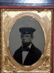 click to view detailed description of Rare Civil War Era Tintype of a River Boat Captain Circa 1863