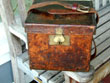 click to view detailed description of English Victorian Leather Cartridge Box With Original Trade Label Circa 1860.