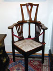 click to view detailed description of Fine English High Back Walnut Corner Chair Circa 1740