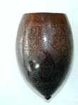 click to view detailed description of   Early 19th Century American Sailor Carved Coconut Shell Cup with Name and Eagle circa 1830