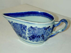click to view detailed description of Chinese Export Blue Fitzhugh Strap Handled Creamer circa 1810