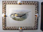 click to view detailed description of Fine 19th Century Hand Colored Lithograph of Shore Birds By Gould and Richter in a Shellwork Frame