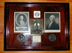 click to view detailed description of Framed Grouping of 18th and 19th Century GEORGE WASHINGTON Memorabilia Including His Signature