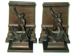 click to view detailed description of Pair of Antique New Bedford Whaling Monument Bronze Bookends