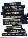 click to view detailed description of Collection of five British Navy Hat Ribbons, 20th Century