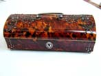 click to view detailed description of Wonderful 19th Century Tortoiseshell Jewellery Box with Steel Studded Decoration