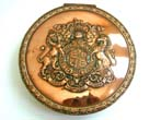 click to view detailed description of Antique Copper Seal Box With the Arms Of King Edward VII of England of 1910