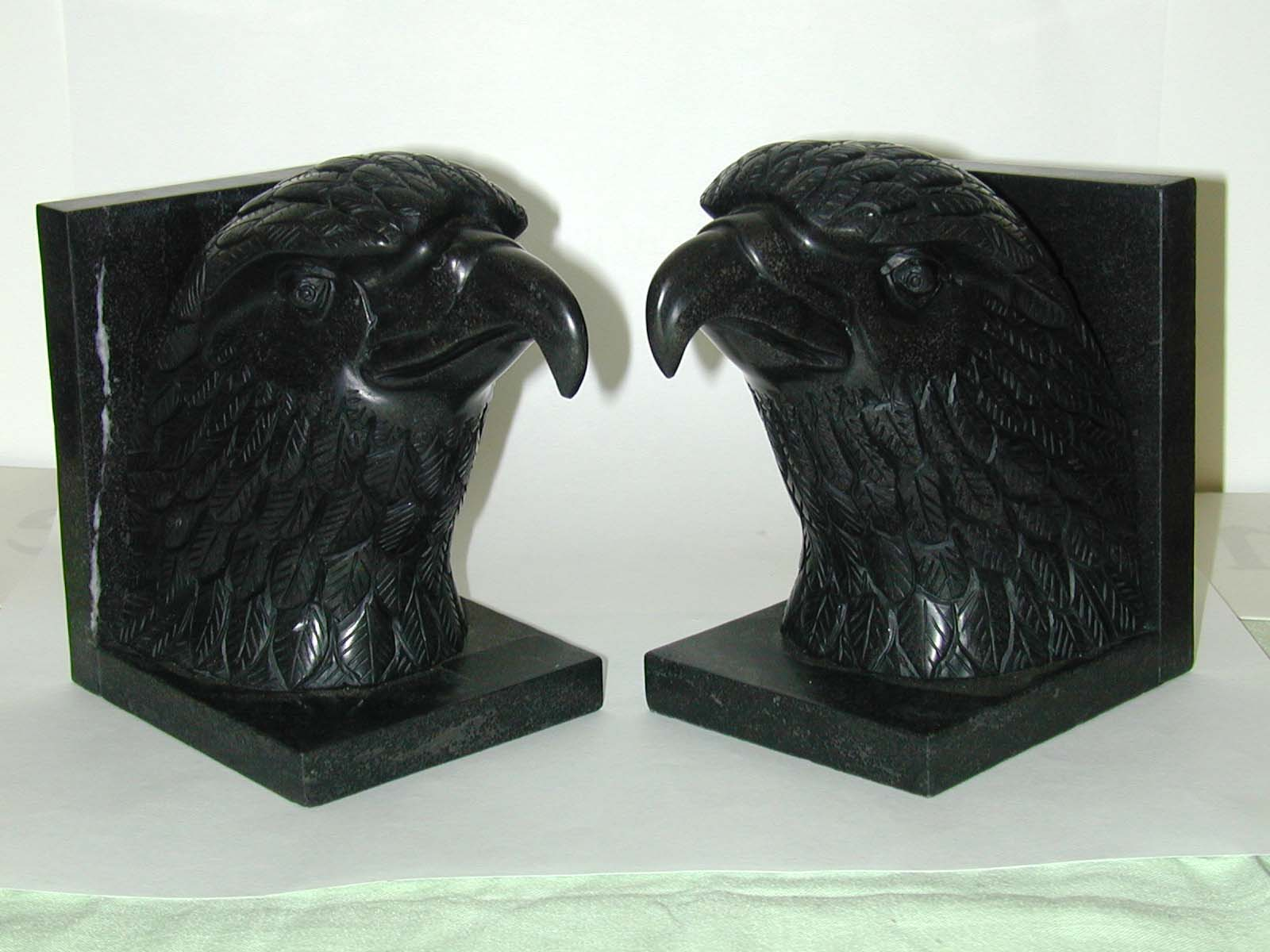 click to view detailed description of Magnifiscent and Striking Pair of Black Marble Eagle Bookends circa 1920