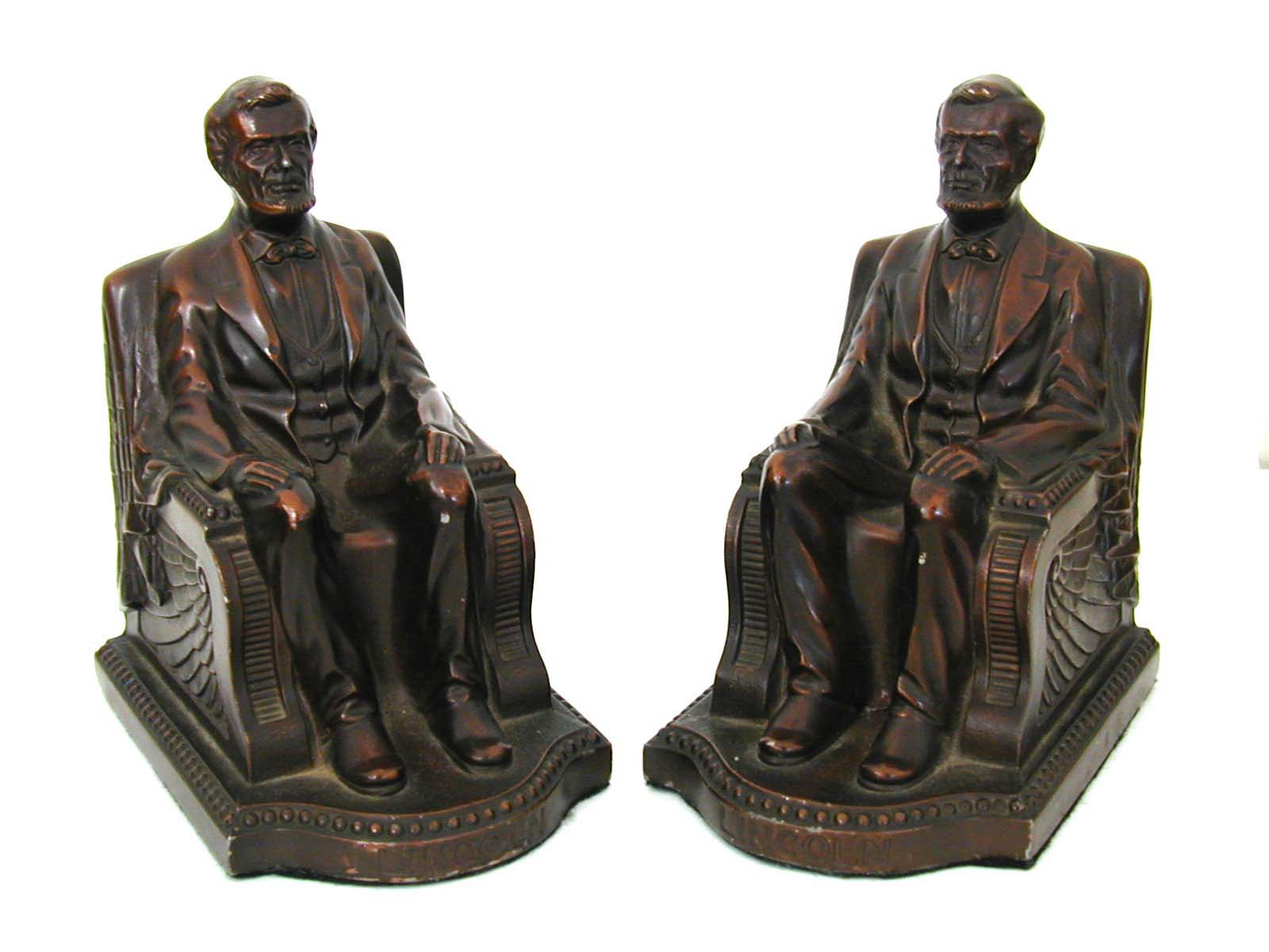 click to view detailed description of A Fine Pair of Abraham Lincoln Bronzed Bookends Circa 1924
