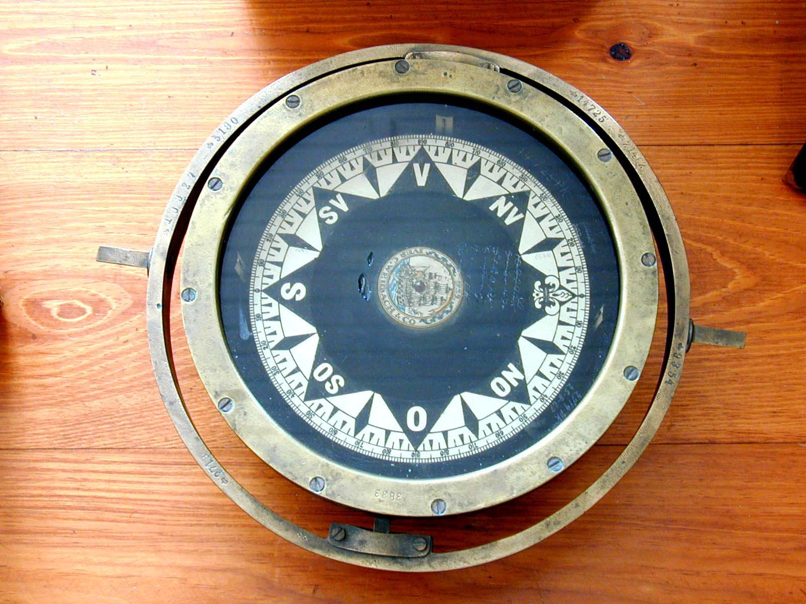 click to view detailed description of A Late 19th Century Danish Ships Compass Signed