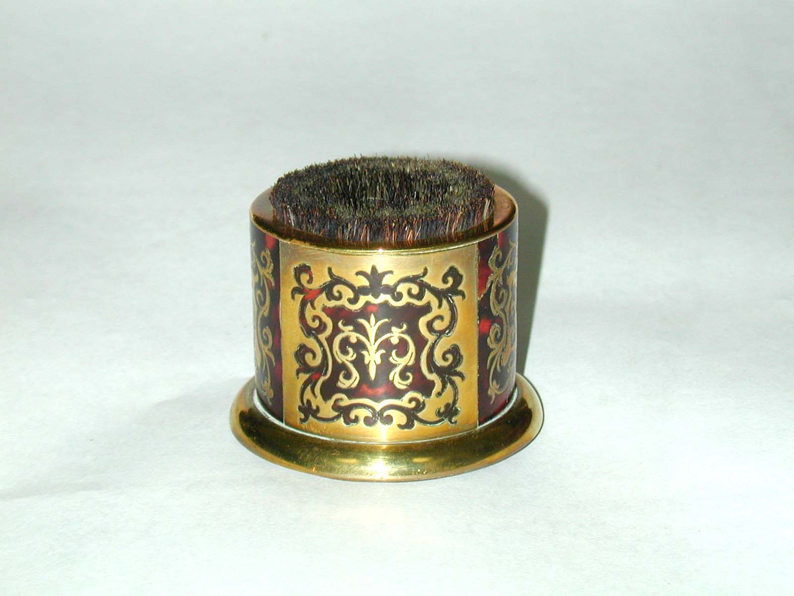 click to view detailed description of A Victorian Tortoiseshell and Brass Boule Pen Wipe circa 1850