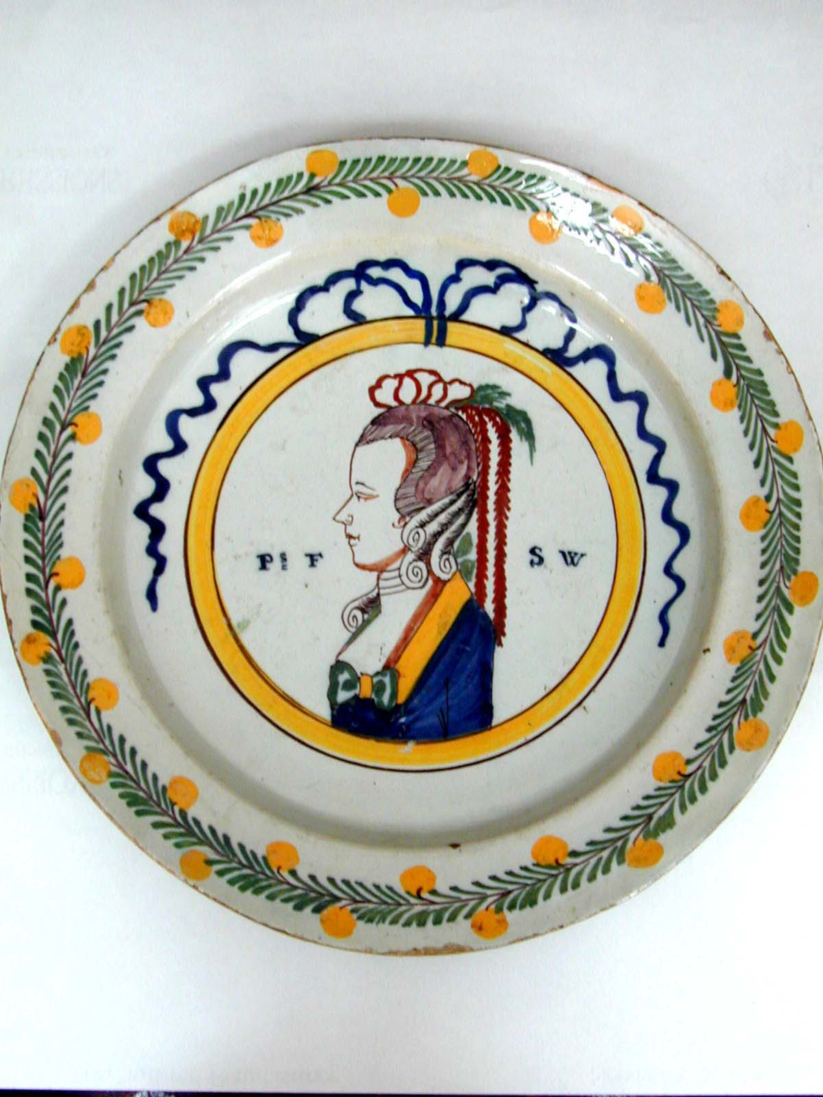 click to view detailed description of An Antique Dutch Delft Commemorative Plate Circa 1787
