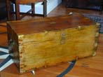 click to view detailed description of A 19th Century Brass Bound China Trade Camphorwood Trunk circa 1850