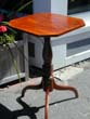 click to view detailed description of Beautiful New England Tiger Maple Candlestand with Spider Legs circa 1810
