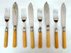 click to view detailed description of A Good Antique Set of English Bone Handled Fish Fork and Knifes circa 1870