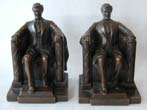 click to view detailed description of A Pair of Lincoln Memorial Bronze Antique Bookends made by Jennings Brothers circa 1930