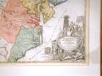 click to view detailed description of A Fine and Rare Early 18th century Map of Virginia, New Jersey and the Carolinas by Homann Ca. 1714