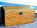 click to view detailed description of A Six-Board Seamans Trunk With Inlaid Stars circa 1870