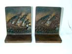 click to view detailed description of A Pair of BRADLEY & HUBBARD Antique Bookends depicting an American Frigate, Possibly 'Old Ironsides', circa 1900