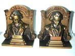 click to view detailed description of a Pair of BRADLEY & HUBBARD Bookends Featuring 'BEETHOVEN