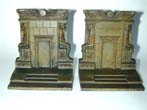 click to view detailed description of A Pair of BRADLEY & HUBBARD Antique Bookends Depicting an Eygptian Tomb, circa 1920