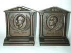 click to view detailed description of A Pair of BRADLEY & HUBBARD Bronze Bookends depicting