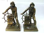 click to view detailed description of A Pair of Antique Gloucester Fisherman Bronzed Bookends by Jennings Brothers Circa 1929