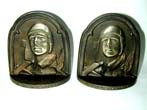 click to view detailed description of A Pair of CHARLES A. LINDBERGH, The Aviator, Bronze Antique Bookends Circa 1929