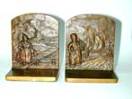 click to view detailed description of A Pair of BRADLEY & HUBBARD Dutch Boy and Girl Bronze Antique Bookends circa 1920