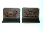click to view detailed description of A Pair of Antique Bradley & Hubbard Lion Bookends circa 1900