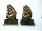 click to view detailed description of A Pair of Bradley & Hubbard Clipper Ship Bookends circa 1925