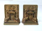 click to view detailed description of A Pair of BRADLEY & HUBBARD Antique Bookends Depicting Mount Pleasant in Philadelphia circa 1900